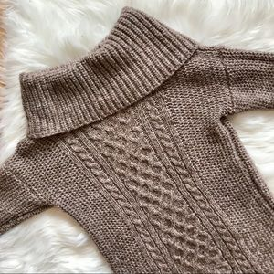 American Eagle Brown Mock Neck Cable Knit Sweater